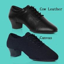 Professional Men Latin Dance Shoe Leather Canvas Split Sole Ballroom Dancesport Shoes High Heel
