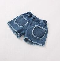 2017 summer kids pocket jeans baby girl infant children kids girls fashion shorts pants