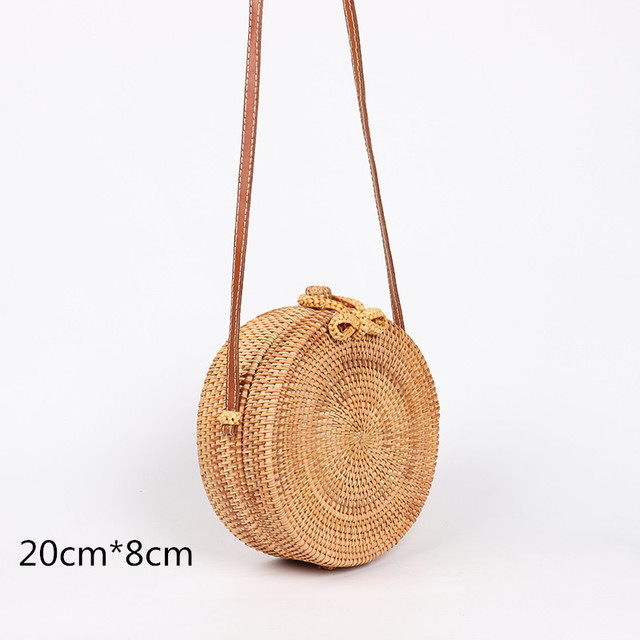 2018 Ins Bohemia Style Bali Beach Circle Bag Vietnam Handmade Woven Round Rattan Straw Bags