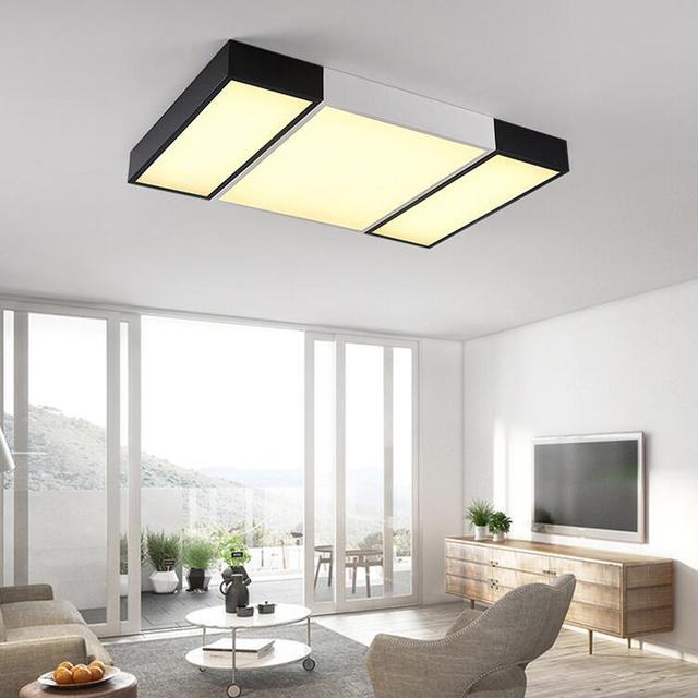 € 179.16 |Plafonnier de chambre ultra mince de LED salon rectangulaire noir  et blanc art minimaliste post moderne salon LU628 ZL416 dans Plafonniers ...