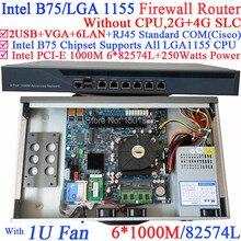 Intel B75 LGA 1155 1U network router hardware with 6 1000M 82574L SFP i350 2