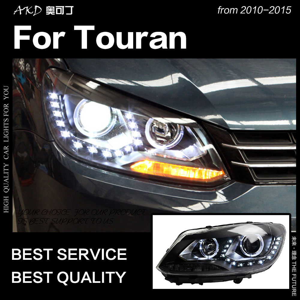 AKD Car Styling for VW Touran Headlights 2010 2015 Touran LED Headlight DRL Hid Head Lamp