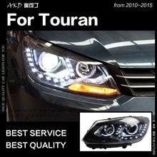 АКД стайлинга автомобилей для VW Touran фары 2010-2015 Touran светодиодный фар ДХО Hid лампы Глава Ангел глаз Би ксеноновые пучка аксессуары