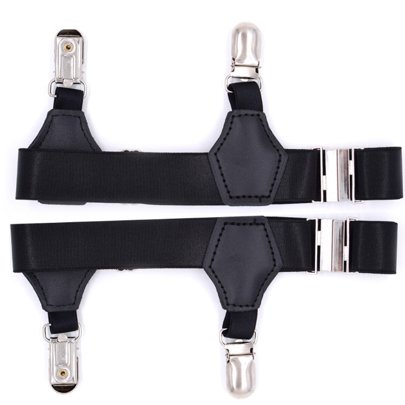 2Pcs Nylon Socks Garters Belt Suspenders Adjustable Non-slip Clips For Men Women Black New