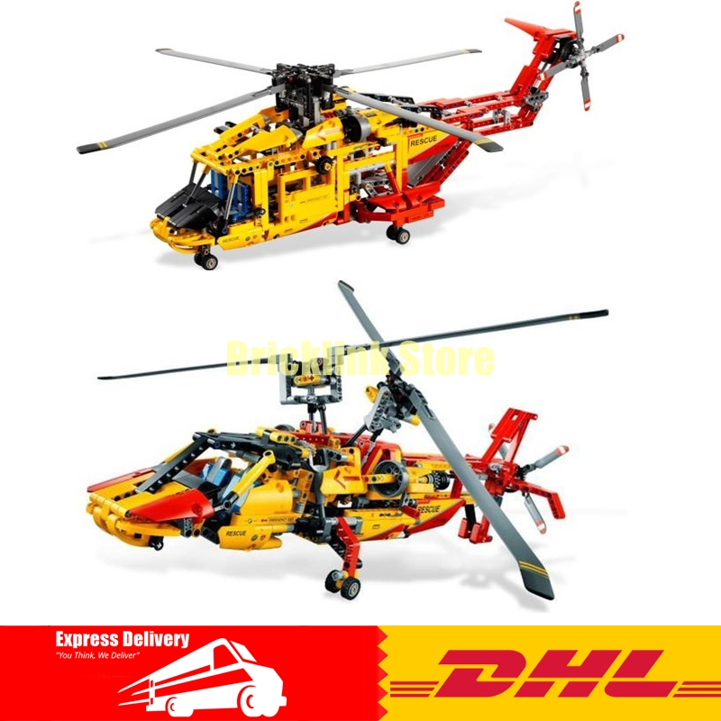 DHL Decool 3357 Technic Rescue Helicopter 1056pcs 2 In 1 Transformable Model Building Block Sets DIY Toys decool 3357 technic city series 2in1 helicopter building block 1056pcs diy educational toys for children compatible legoe