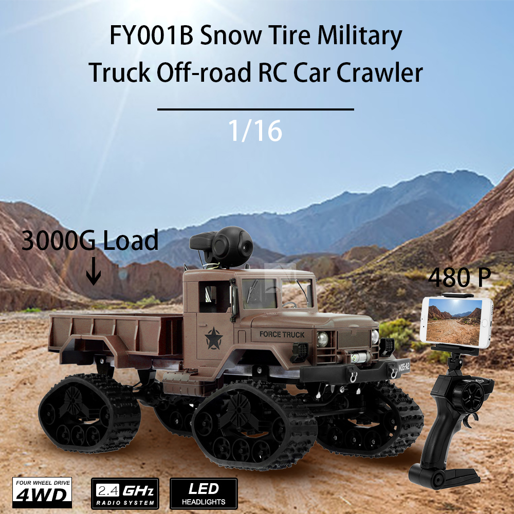FY001B 1:16 RC Car 2.4GHz 4WD 3000G Load Snow Tire Military Off-road Cars Crawler LED Headlights for Kids Toys for Children storage cable
