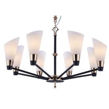 Stile americano luce del pendente paralume in vetro di arte del Ferro corpo lampada foyer dell'hotel sala 6/8/12 lampade di illuminazione decotative hanging light