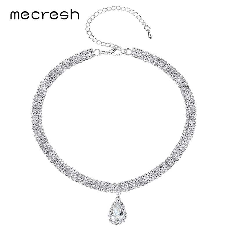 8a8f177a58 Mecresh Classic Crystal 3 Row Silver Color Teardrop Choker Necklace for  Women Trendy Rhinestone Collar Necklace Jewelry MXL131