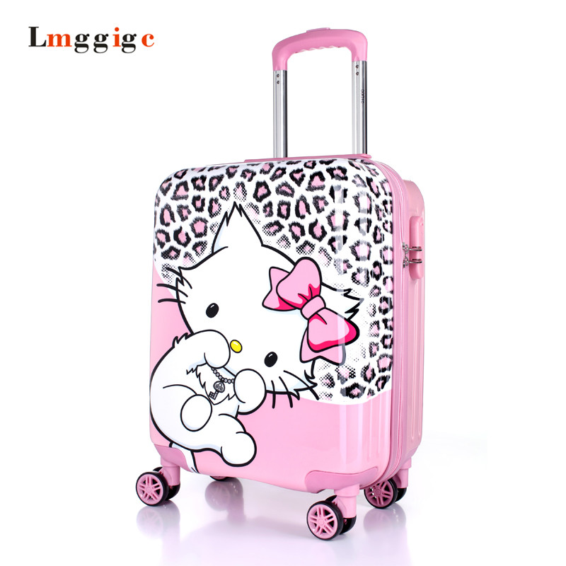 Kids Luggage Travel Bag, Children's Cartoon Suitcases ,Hello Kitty Gift for Child, Universal wheels Trolley Box,ABS School bag