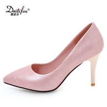 dcb18ead87d Daitifen 2018 Luxo Glitter Saltos Finos Mulheres Bombas Elegantes sapatos  de Plataforma de Salto Alto Mulheres Sapatos de Casame.