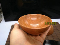 China handmade jade carving Natural Wood Fish Stone Bowl Rice Bowl