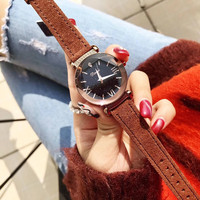 Popular Brand Women Caramel Watches Waterproof Real Fur Leather Strap Watch Vintage Roman Wrist watch Quartz Multi Faceted Glass