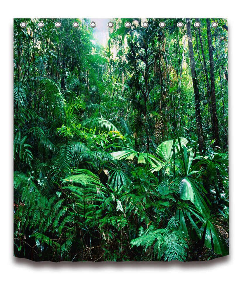 72 ''الاستوائية كثيفة الأخضر الغابة الحمام النسيج ستارة حمام مبطنة مقاوم للماء البوليستر الستار مجموعات الإكسسوارات 12 السنانير