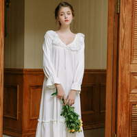 Sexy Slash Lace Up Sleep Wear Night Dress Vintage Nightgown Long Sleeve Nightdress White Cotton Sleepwear Women Nightshirt