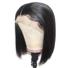 13×6 Short Lace Front Human Hair Wigs Brazilian Straight Bob Wig Pre Plucked Hairline With Baby Hair Lace Wig