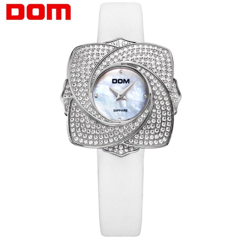 DOM luxe mode femmes montres dame montre en cuir étanche diamant horloge femmes montre Quartz montres cadeau G-637L-7M
