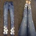 Jeans Skinny de Algodão Mulheres Calças de Brim Novas calças de Brim da Mola das Mulheres Strass Calças Lápis Pés