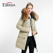 EURASIA 2017 New Arrival Full Solid Women Winter Coats Warm Outerwear Hood Parka Style Jackets Overcoat Real Fur Collar Y170011