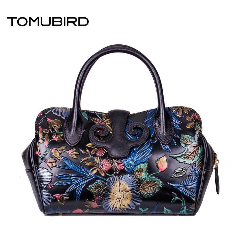 TOMUBIRD 2017 nouveau sac en cuir véritable femmes mode rétro main gaufrage en cuir art sac femmes en cuir sacs à main sac à bandoulière