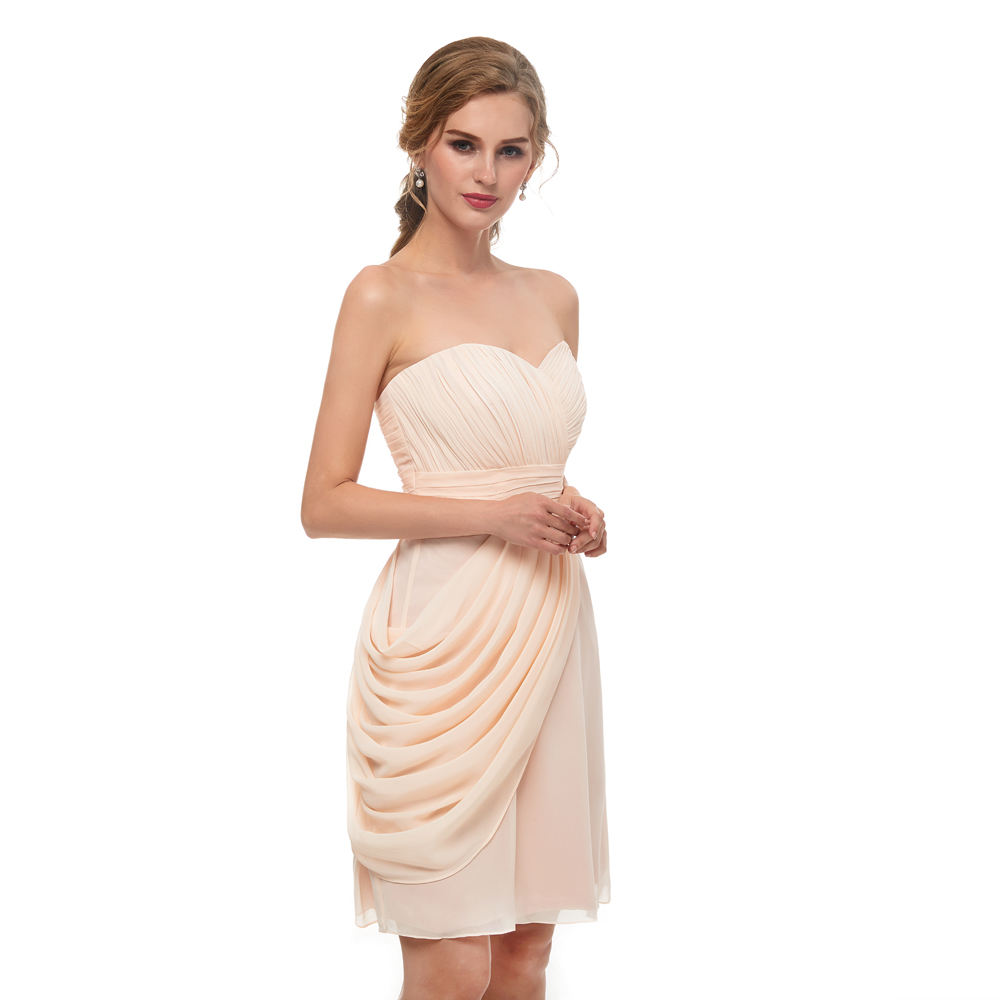 faa295f78 Simple Champagne gasa corto de dama de honor vestidos de novia rodilla  longitud Beach nupcial vestido de fiesta en Vestidos de dama de honor de  Bodas y ...