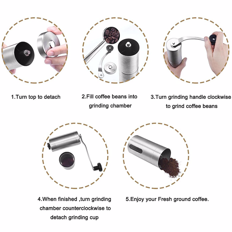 Image 5 - Manual Coffee Grinder, Stainless Steel Coffee Mill with Adjustable Ceramic Conical Burr, Ideal for Home, Office, Travelling-in Manual Coffee Grinders from Home & Garden