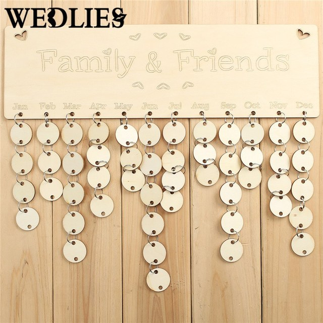 Wooden Family Friends Birthday Reminder Plaque Sign Board Calendar