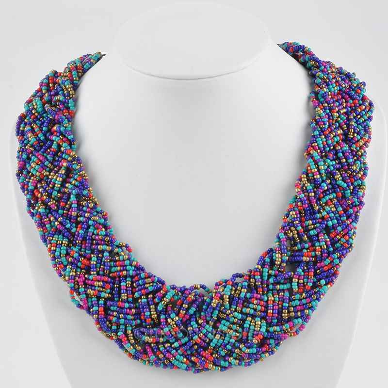Vintage Beaded Handmade Chunky Chain Bib Choker Collar Statement Necklace Ethnic Maxi Necklaces For Women 2017