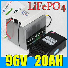92V 20AH LiFePO4 Battery Pack ,2000W Electric bicycle Scooter lithium battery + BMS + Charger , Free Shipping 4pcs lot no taxes lifepo4 lithium battery pack 12v 100ah for ebike scooter bicycle tricycle rickshaw motorcycle