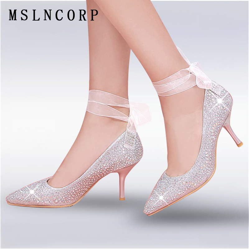 Size 34-45 New Women Pumps Bling High Heels Glitter Ankle Lace Up Sexy Pointed Toe Shallow Party Gold Silver Dress wedding shoes plus size 34 46 fashion high heels shoes women pumps square heel pointed toe dress pumps shallow party stilettos ladies footwear