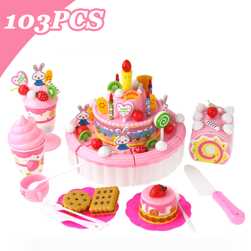 103PCS DIY Pretend Play Cutting Cake Toys Birthday Cake with Music Light Kitchen Food Toys Cocina De Juguete for Girls Gifts [