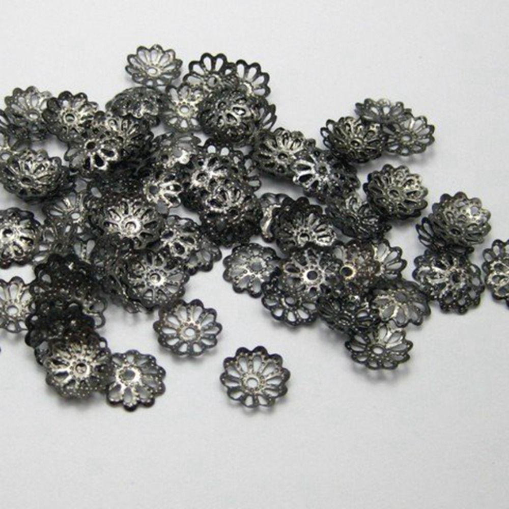 1000pcs Gunmetal Filigree Flower Bead Caps Findings Fit 10-16mm Bead