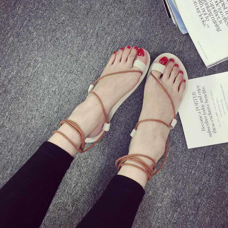 e5e3a379885d ... New Women T - Strap Gladiator Thong Flat Flip Flops Sandals Shoes Size  genuine leather sandals ...