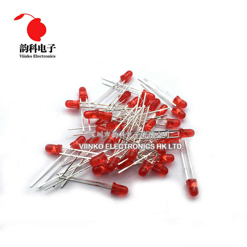 100 Pcs Merah LED 3 Mm Red Light-Emitting Diode Merah Berubah Menjadi Merah