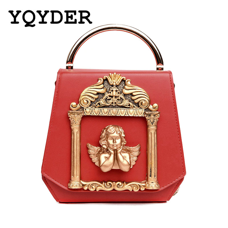 Metal Tote Bag Baroque Angel Women Small Handbags Luxury PU leather Shoulder Bags Vintage Chains Messenger Bag Ladies Sac A Main 2018 floral luxury handbags women bag designer pu leather bag women messenger bags small chain crossbody shoulder bag sac a main