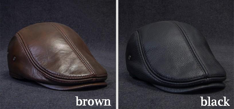 RY967 nuevo invierno de 2019 de cuero genuino de hombre Boina sombreros de  mediana edad caliente de pico de pato marrón equipada gorra con sombrero  taxista ... e242bbac8fd