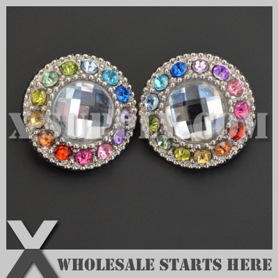 Free Shipping 21mm Round Rainbow Acrylic Diamond Button for Clothing Flower Center Silver Base Wholesale