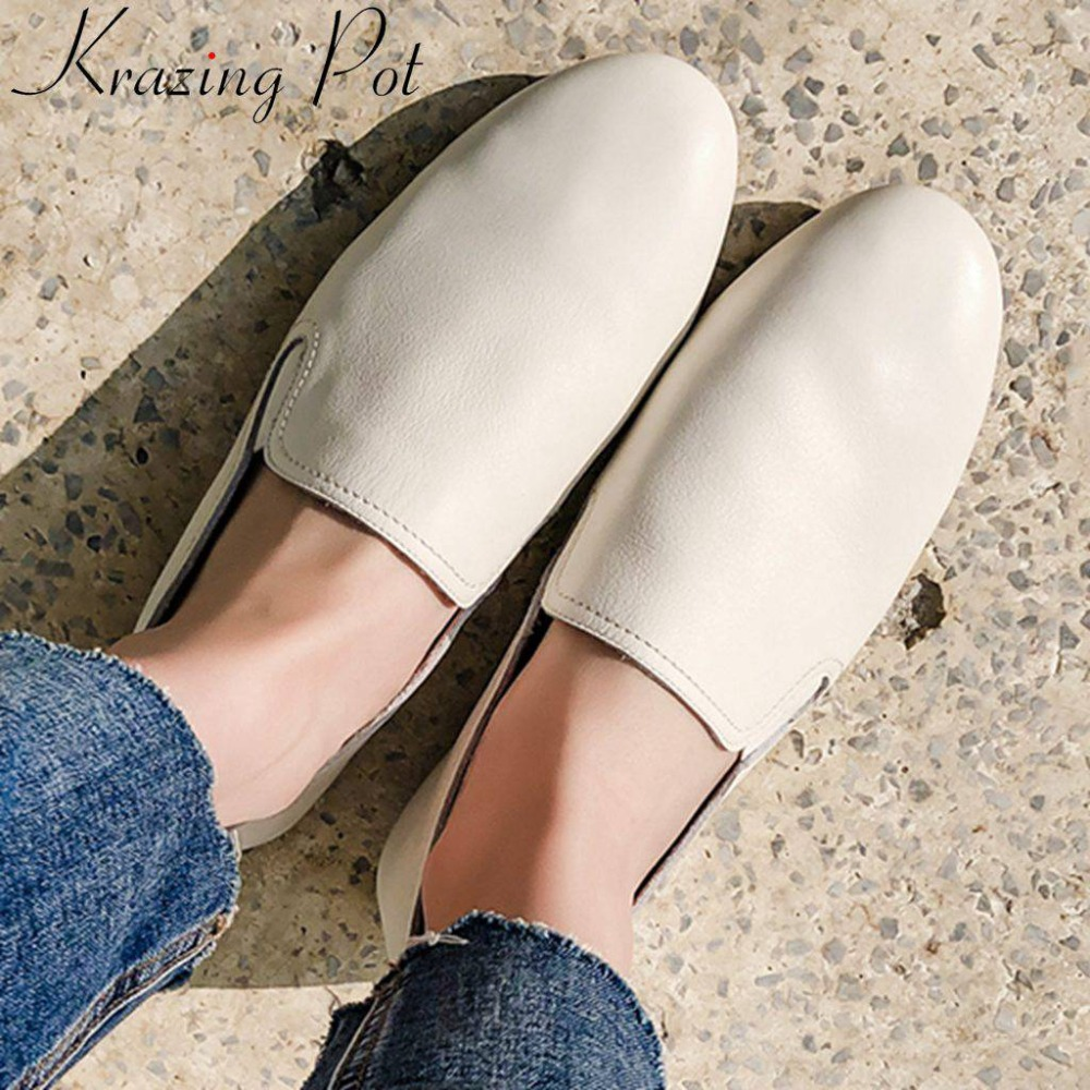 Krazing Pot new superstars lazy woman sleeve shoes square toe slip on handmade soft natural leather
