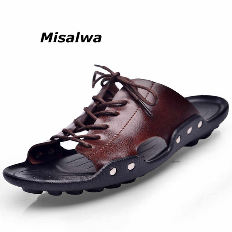 7203523f1 Misalwa New Men s Flip Flops Genuine Leather Summer Beach Slippers Male  Casual Flat Shoes Brand Fashion