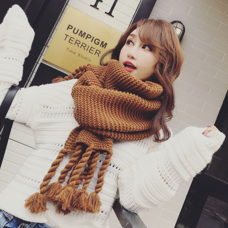 2019 Long Scarves For Women Winter Scarf  Blanket Cashmere Soft Shawl Tassel Pink Hand Knitting Scarf 2019 Hot Sale