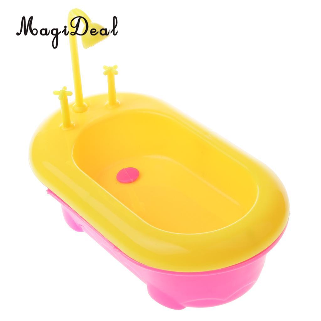 MagiDeal Top Selling 1Pc Mini Plastic Dolls Bathtub Bathroom Acce for Dollhouse Furniture Toy Baby Kids Pretend Play Cute Gift