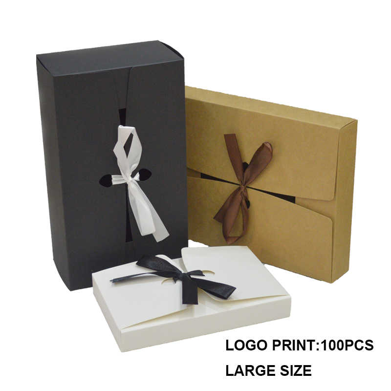 10 pcs Gift Box Large With Ribbon Custom Logo Paper Box For Packaging Candy Black White Kraft Cardboard Box Giftbox Dropshipping