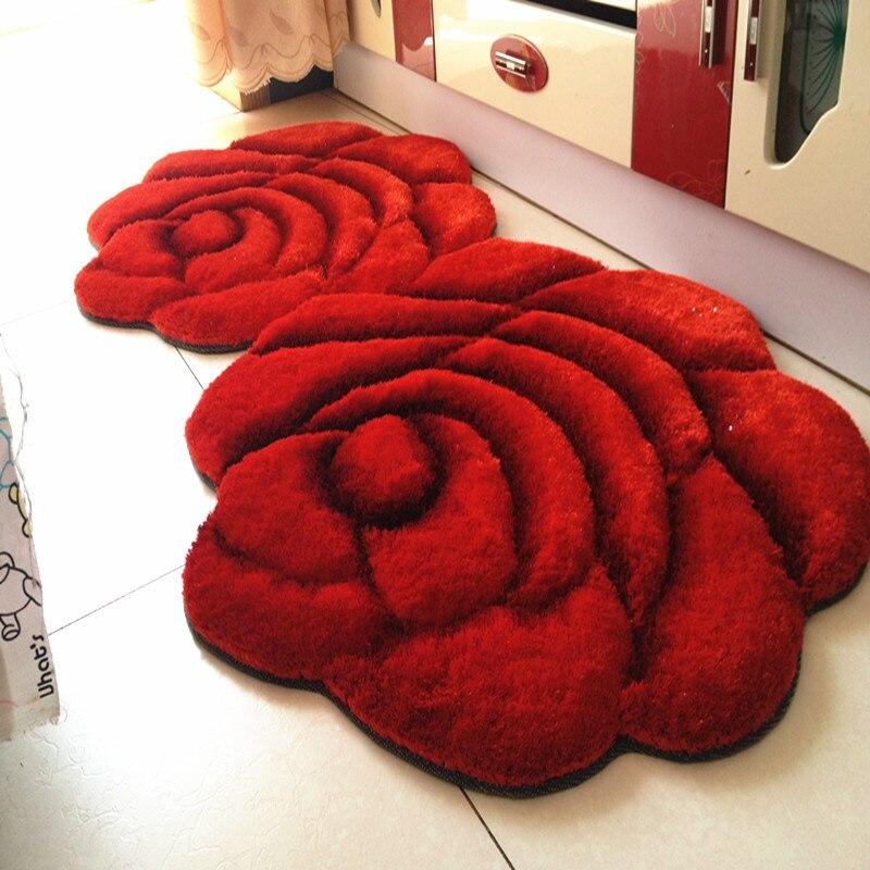 3D tapis de tapis rond Shaggy fleur pour la maison salon tapetes de mariage tapis Shaggy tapis Floral de sala Rose tapis ronds épais