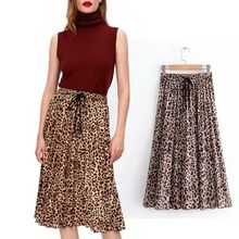 Moirlicer women stylish leopard print pleated skirt faldas mujer Drawstring tie elastic waist ladies casual mid calf skirts(China)