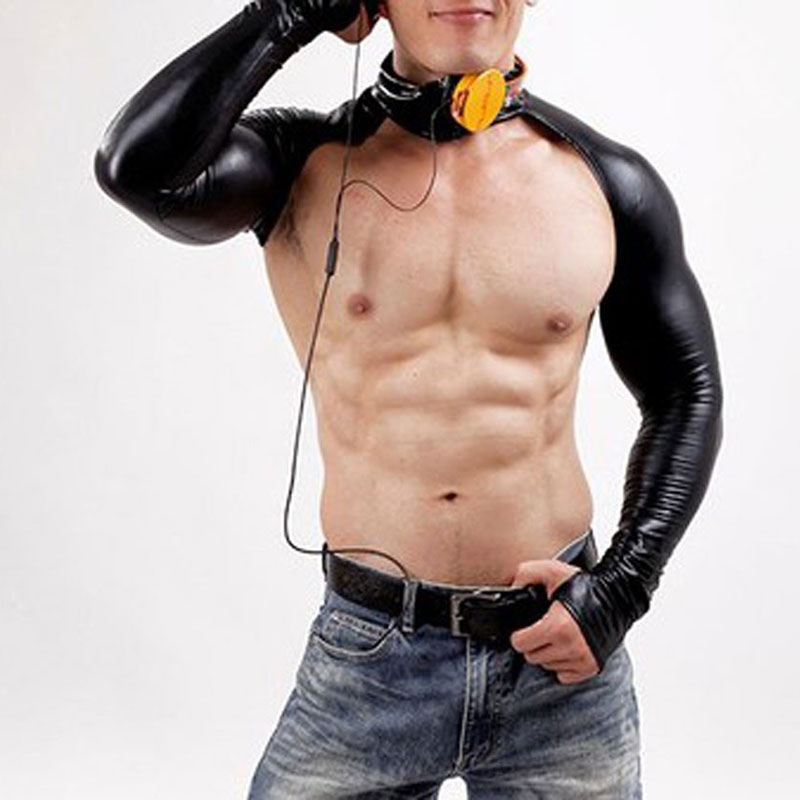 Sexy Latex Bodysuit Catsuit Men Long Sleeve DJ Body Suits Nightclub Bodies Sex Product Gloves Erotic Leotard Men's Tight Tees