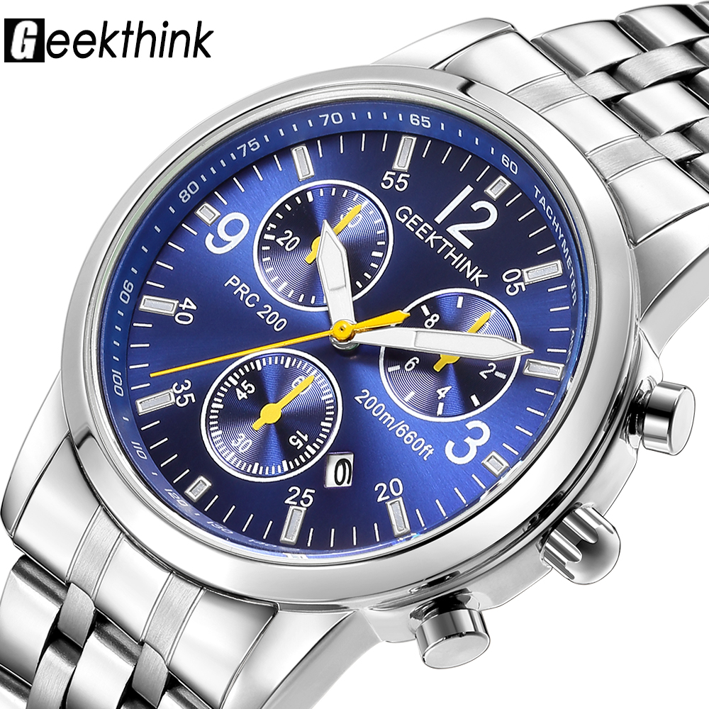 Geekthink famous brand Classic Quartz-Watch Men Casual Business Stainless steel Strap Auto Date Watch Men male Relogio Masculino цена и фото