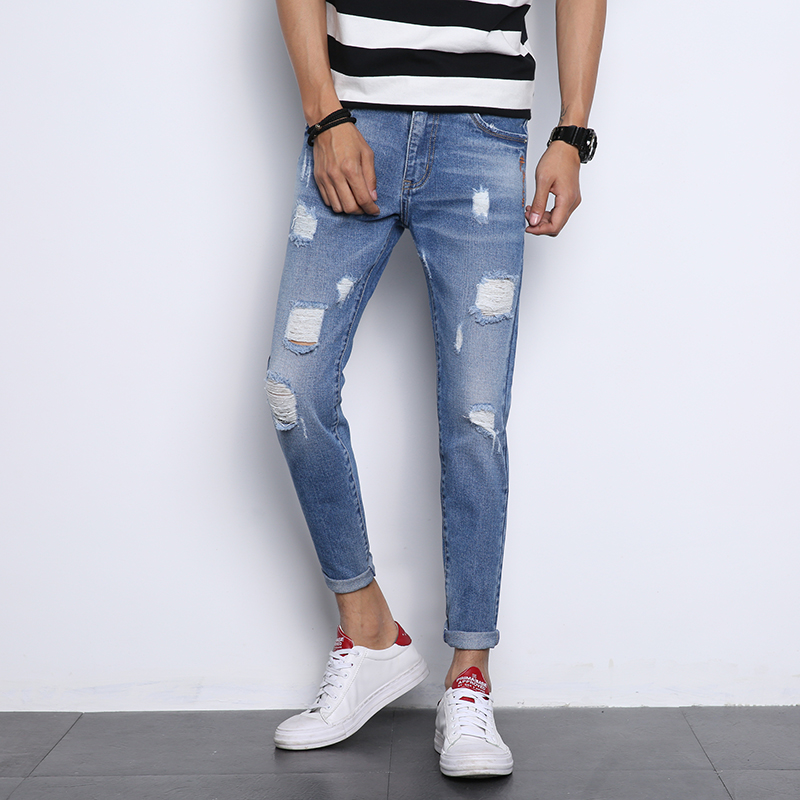 New fashion mens jeans wild high waist trousers Slim casual straight leg jeans slim thin slim button pencil stretch trousers