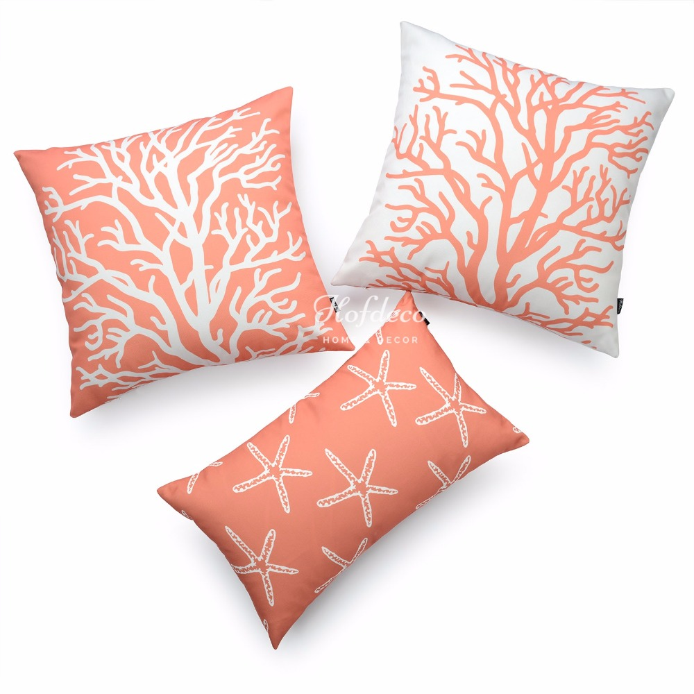 decorative coral pillows