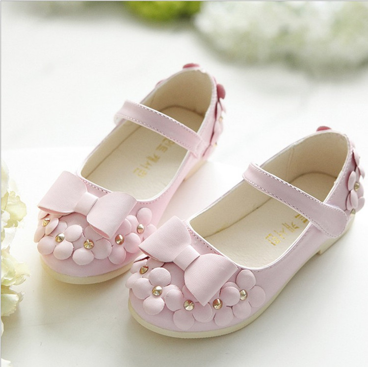 23376b855ba4 Girls white dress shoes models bowknot princess shoes light leather ...
