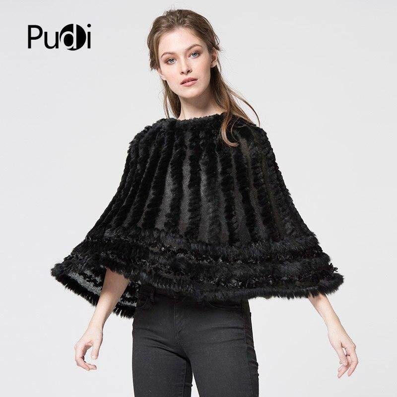 Pudi CK710 les nouvelles femmes poncho réel tricoté à capuche en fourrure de lapin châle poncho étole cape écharpe wrap noir