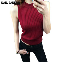 Danjeaner Summer Tank Top Women Mock Neck Ribbed Knitted Top Black Women Fitness Vest Stand Collar Elegant Tank Tops for Women fashion plunging neck strappy ruffles tank top for women
